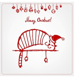 Christmas card funny santa cat for your design vector image