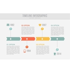 Timeline report template with buttons and icons vector