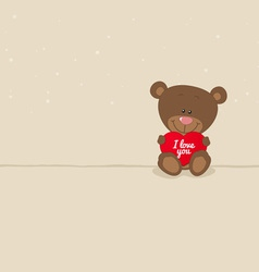 Love bear with red heart vector image
