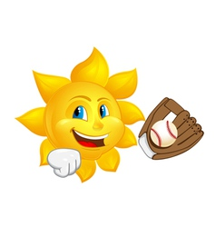 Sun with glove is catching ball vector