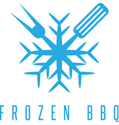 Snowflake and bbq tools design template vector