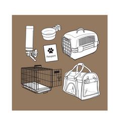 Sketch hand drawn pet transport travel set on vector