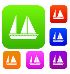Sailing boat set collection vector