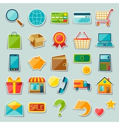 Internet shopping sticker icon set vector