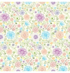 pattern with flowers butterfly dragonfly vector image