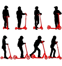 Set of silhouettes of children riding on scooters vector