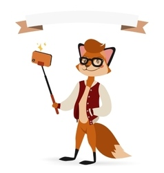 Selfie photo fox boy hipster with glasses vector