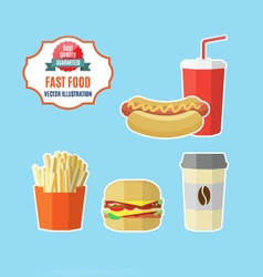 Set of fast food meals vector