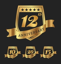 Golden anniversary badge labels vector