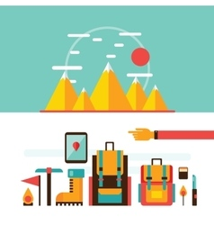 Mountain hiking and climbing camping travel vector