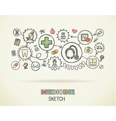 Medical hand draw integrated icon set on paper vector