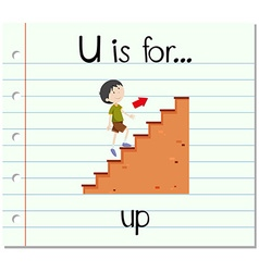 Flashcard letter u is for up vector