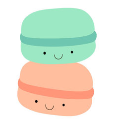 Mint and peach macarons with eyes and smile vector