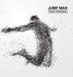 Jump man graphics composed of particles vector