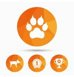 Pets icons cat paw with clutches sign vector