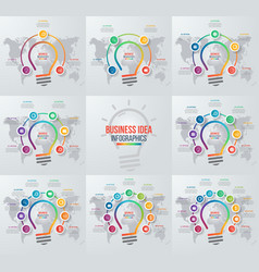 Set of idea light bulb infographic templates vector