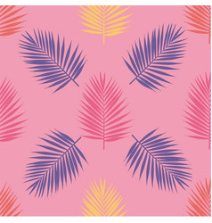 Bright tropical palm leaves seamless pattern vector