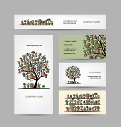 business cards design with cactus tree vector image