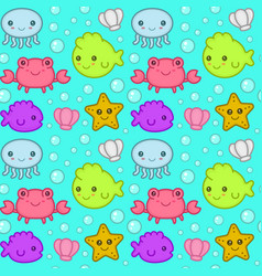 children kids sea marine seamless pattern vector image vector image
