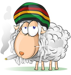Crazy jamaican sheep cartoon vector