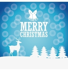 Deer bell and pien tree icon merry christmas vector