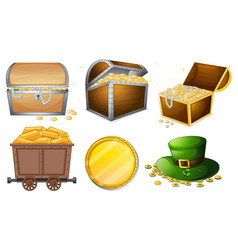 different containers filled with gold vector image