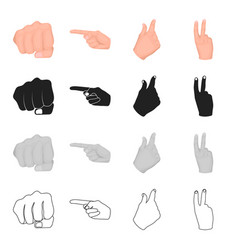 different gestures with hands fist index finger vector image