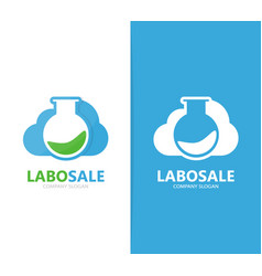 Flask and cloud logo combination vector