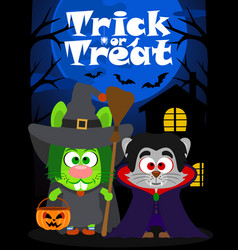 halloween background trick or treating animal vector image
