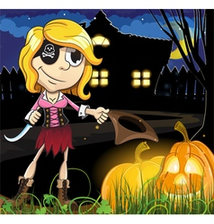 Halloween pirate girl near the haunted house vector