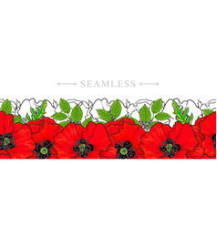 Hand drawn red poppy seamless pattern frame vector