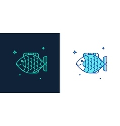 Icon of a fish linear style vector