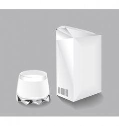 packaging milk and a glass vector image vector image