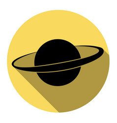 Planet in space sign flat black icon with vector