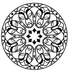 Round floral mandala isolated on white vector
