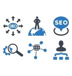 Seo marketing flat icons vector