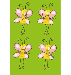 Set of cartoon butterflies with different emotions vector image vector image