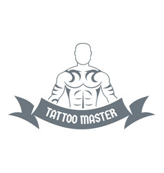 Tattoo master logo simple gray style vector