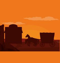 Western village silhouette vector