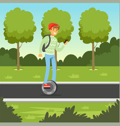 Young man riding on gyroscope in the park man on vector