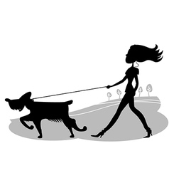 Young woman walking the dog black silhouette vector