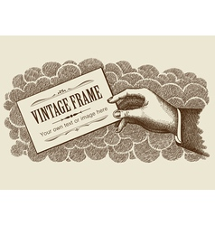 Vintage frame background with hand vector