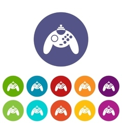 Gamepad set icons vector image