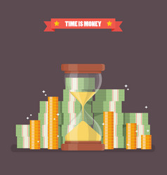 Sandglass with cash money in flat style vector
