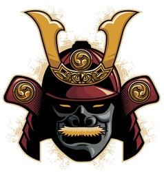 samurai armor helmet vector image