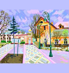 Digital painting of rural landscape vector