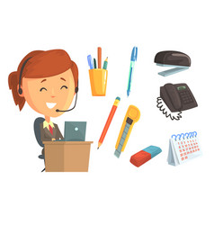 Smiling woman in headset set for label design vector