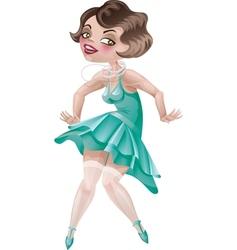 laughing cute cartoon flapper girl in Art Deco dre vector image
