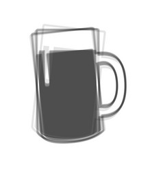 Beer glass sign  gray icon shaked at white vector