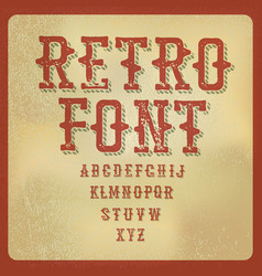 Retro alphabet vintage letters on aged paper vector